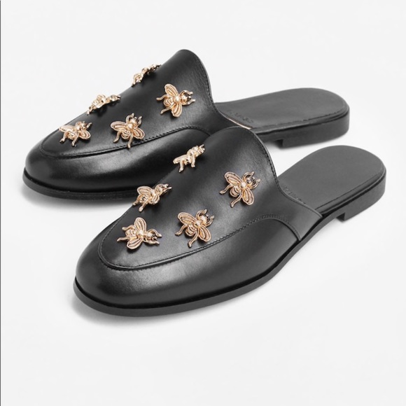 8019417a911b Mango slingback leather shoes with gold bees. M 5a788dd6daa8f6b2bf1e8bc1